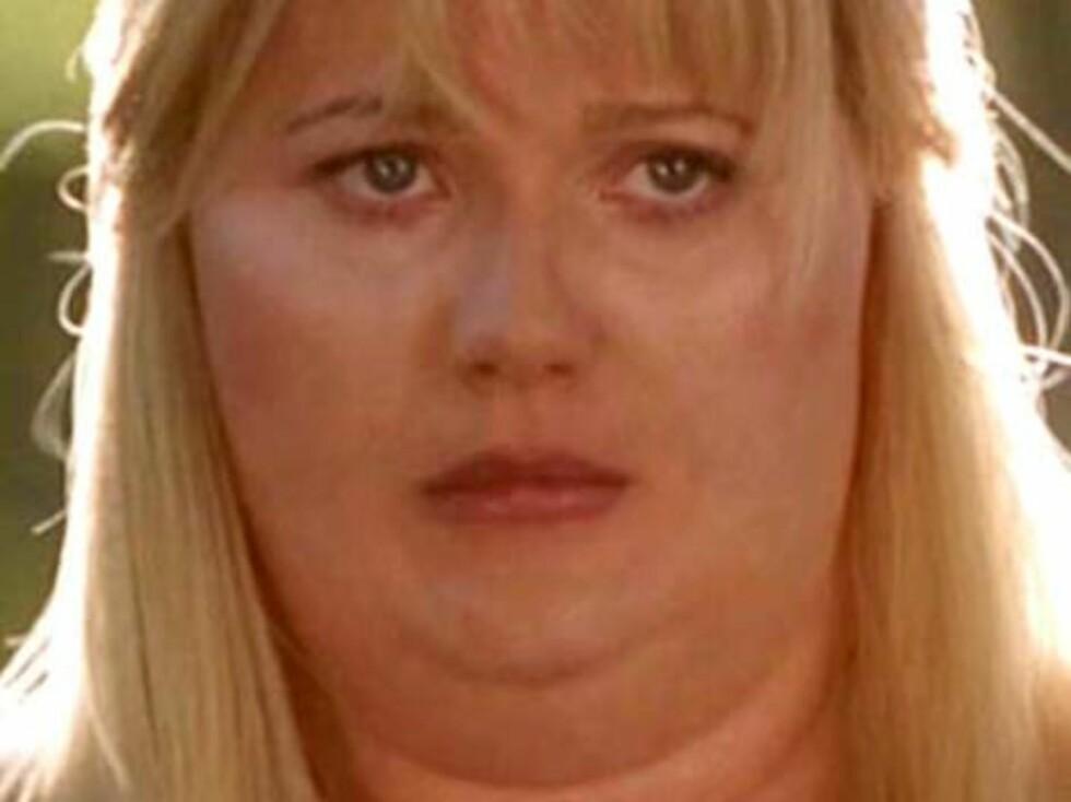 """Gwyneth Paltrow i """"Shallow Hal"""". Gwynet satt i sminkerommet i hele fire timer for å få dette fjeset. Foto: Filmweb"""