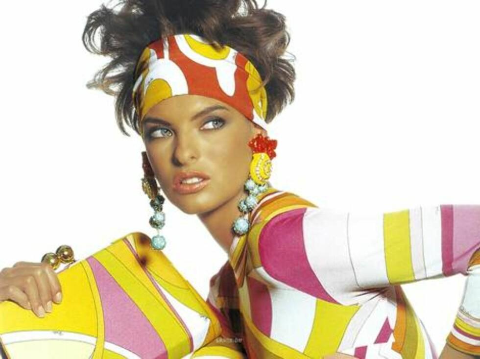 Linda Evangelista i gilde farger på 80-tallet. Foto: All Over Press