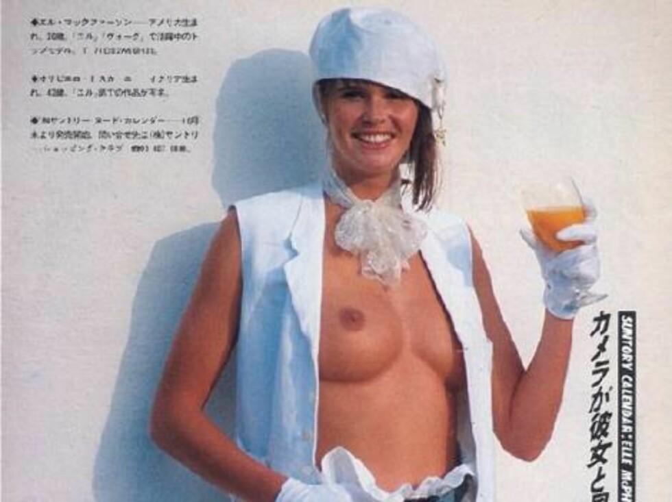 Elle Macpherson reklamerer toppløs for alkohol på 80-tallet. Foto: All Over Press