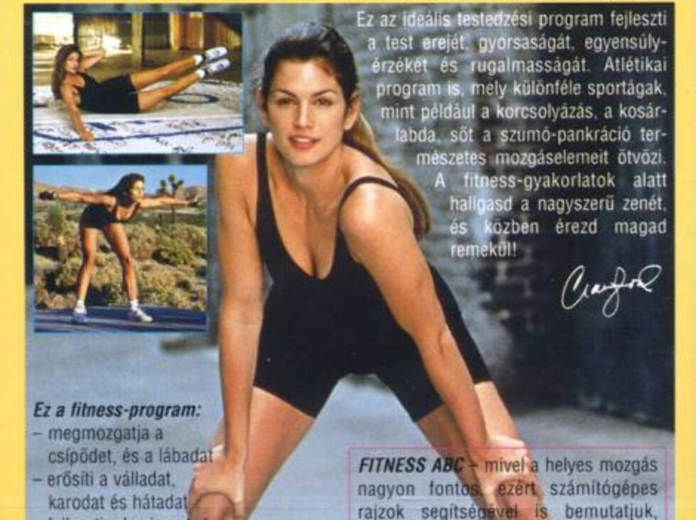 Cindy Crawford i sin egen fitnes-video som kom ut på 90-tallet. Foto: All Over Press