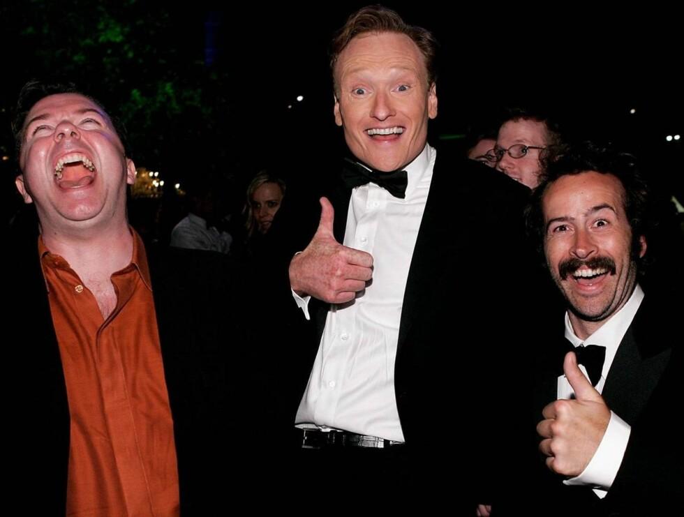 MORET SEG: Ricky Gervais, Conan O' Brien og Jason Lee slo seg løs på nachspielet. Foto: All Over Press