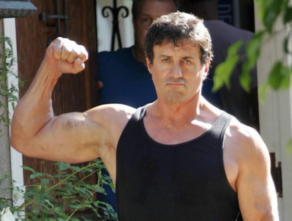 STERK: Sylvester er svært glad i å vise muskler. Nå skal beilere få gjennomgå. Foto: All Over Press