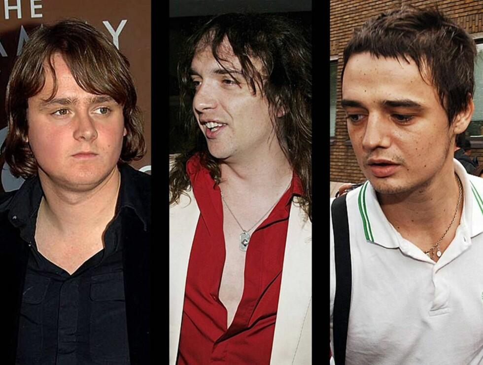 SUPERGRUPPE: Keanes Tom Chaplin, The Darkness Justin Hawkins og Pete Doherty fikk fart i allsangen på avvenningsklinikken The Priory. MONTASJE