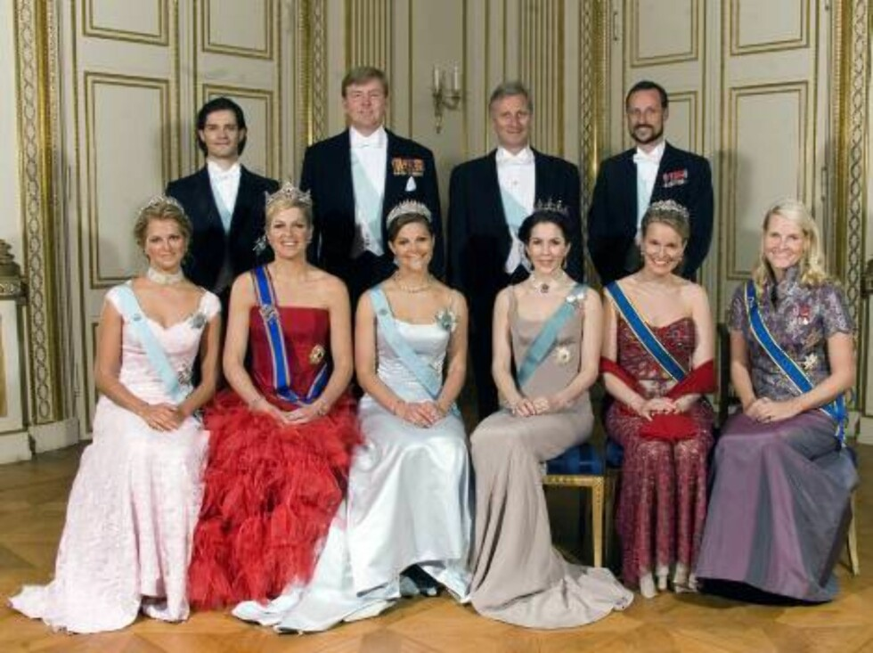 STOCKHOLM 2006-04-30.  Official photo taken at the gala dinner at Stockholm Palace, celebrating King Carl XVI Gustaf's 60th anniversary.  Top, from left: Prince Carl Philip of Sweden; Crown Prince Willem Alexander of the Netherlands; Crown Prince Philippe Foto: Stella Pictures