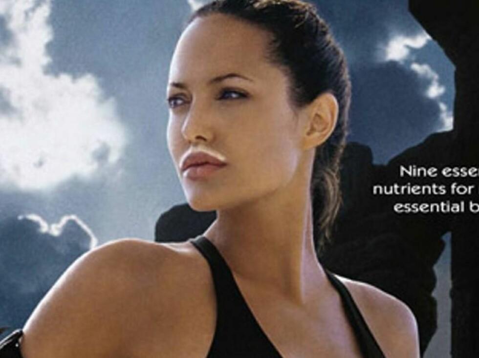 SEXY: Med eller uten melkebart, Angelina er sexy uansett. Foto: AP/Scanpix
