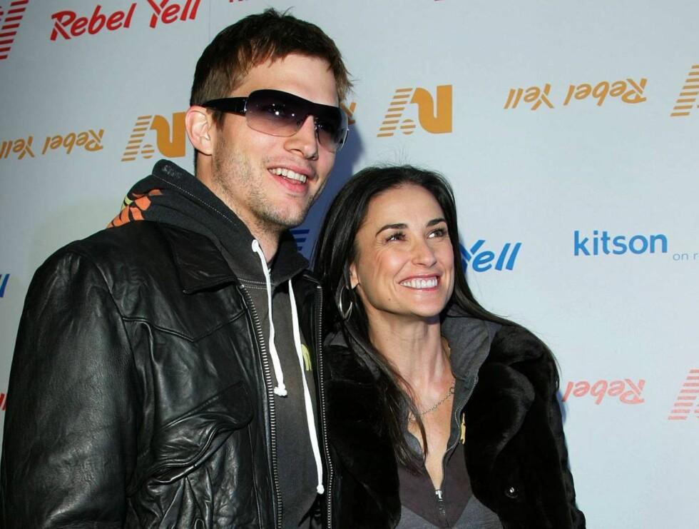 FAMILIEN ASHTON: Kutcher nyter nå det rolige livet sammen med sin 15 år eldre kone. Foto: AP