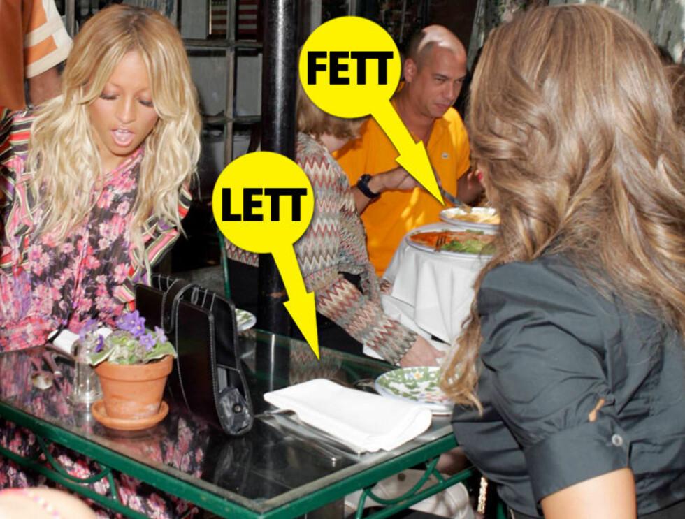 TOMT BORD: Det var ikke mange kaloriene på lunsjbordet til Nicole og Tyra. På nabobordet derimot... Foto: All Over Press