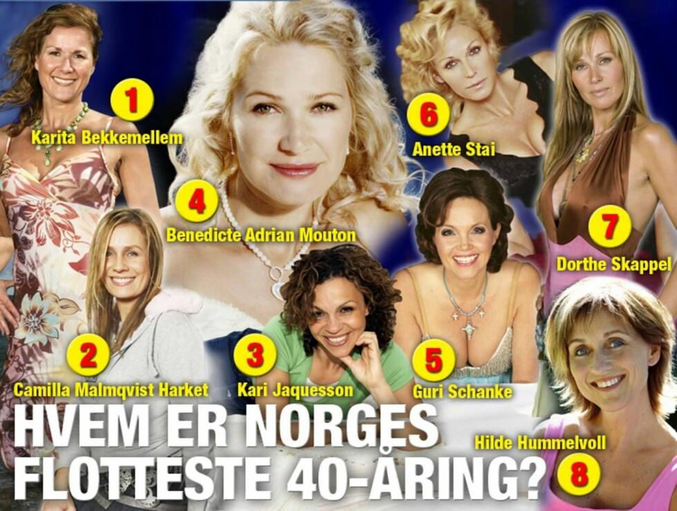 KANDIDATENE: En av disse blir kåret til Norges flotteste dame over 40! Foto: MONTASJE/SE OG HØR
