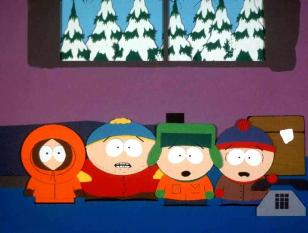 "MOBBER MEL: Kenny, Cartman, Kyle og Stan tar et oppgjør med Mel Gibson i episoden ""Passion of the Jew"". Foto: AP"