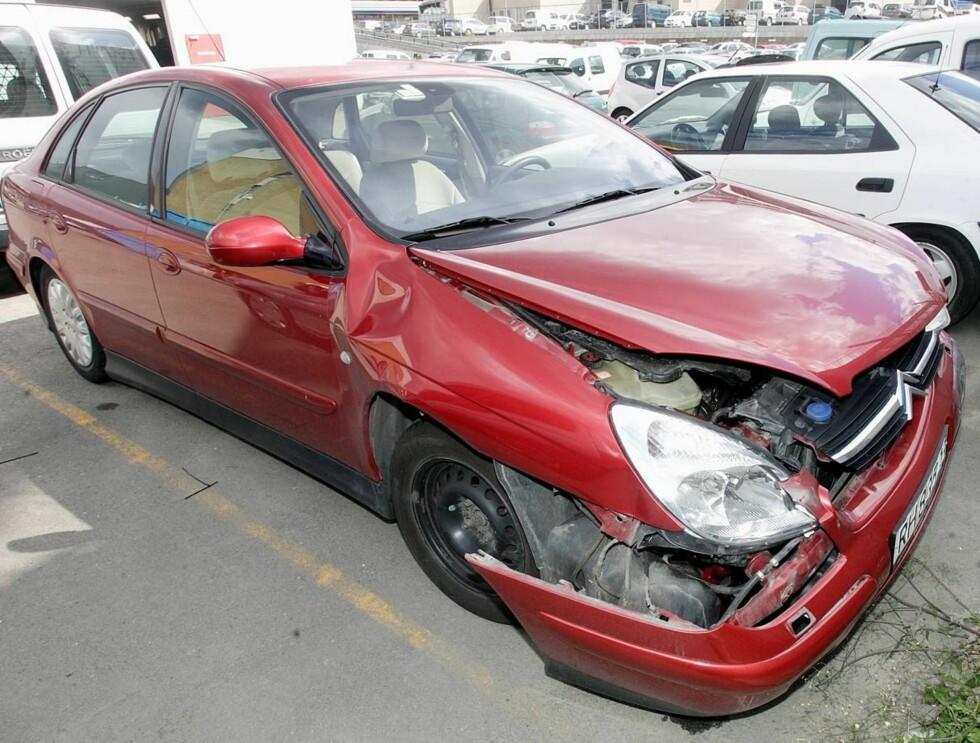 <strong>VRAK:</strong> Bilen måtte kondemneres etter ulykken. Foto: Andreas Fadum
