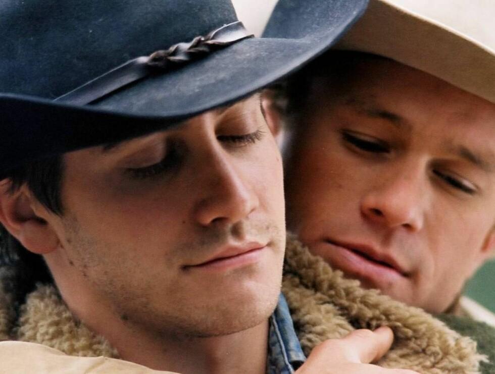 """HOMOFILE: Filmen """"Brokeback Mountain"""" med Jake Gyllenhaal og Heath Ledger i hovedrollene fikk mye oppmerksomhet for heftige, homofile scener."""