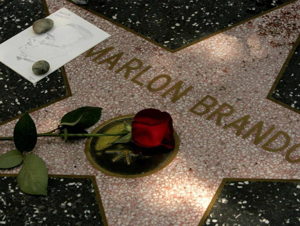 "A single rose and a charachter sketch appear on the star of actor Marlon Brando along Hollywood's Walk of Fame Friday, July 2, 2004, in Los Angeles. Brando, who revolutionized American acting with his Method performances in ""A Streetcar Named Desire"" and Foto: AP/Scanpix"