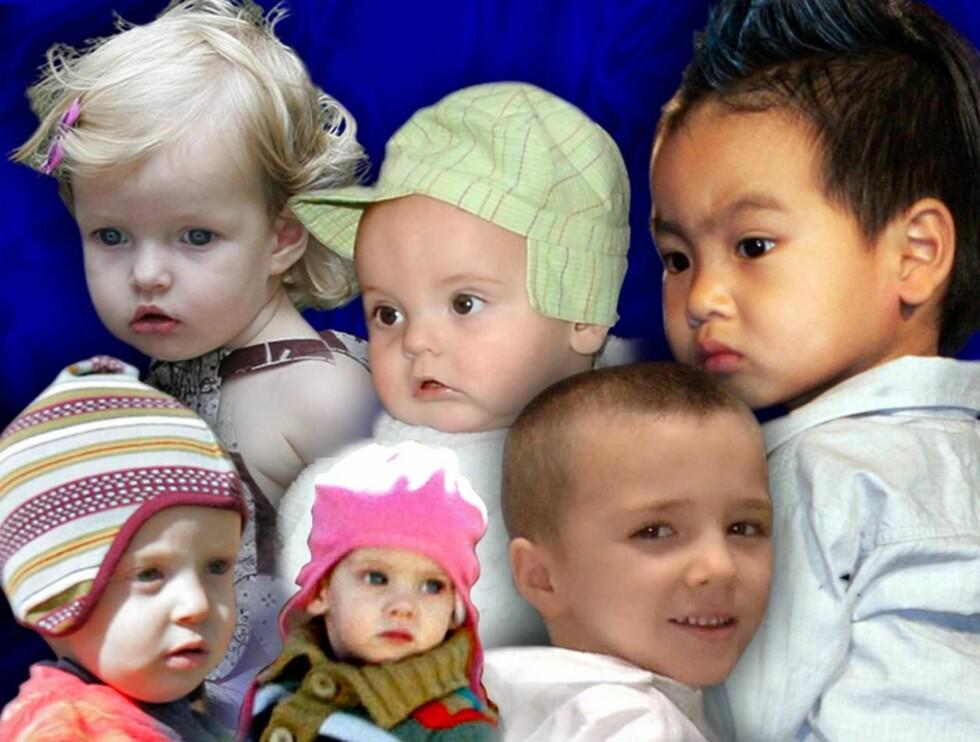 GODKLUMPER: Gwyneth Paltrows lille Apple (bak t.v.), Sean Preston (Britney Spears), Maddox (Angelina Jolie), tvillingene Phinnaeus og Hazel (Julia Roberts) og Rocco (Madonna). Fotomontasje. Foto: All Over