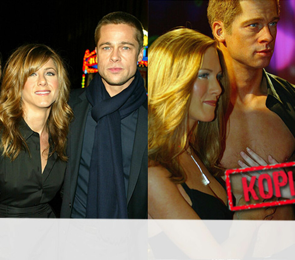 <strong>EKS-KOPI:</strong> Her er eks-paret Jennifer Aniston og Brad Pitt. Det ryktes at Jennifer skal smeltes om til Angelina Jolie snart.  Foto: All Over Press