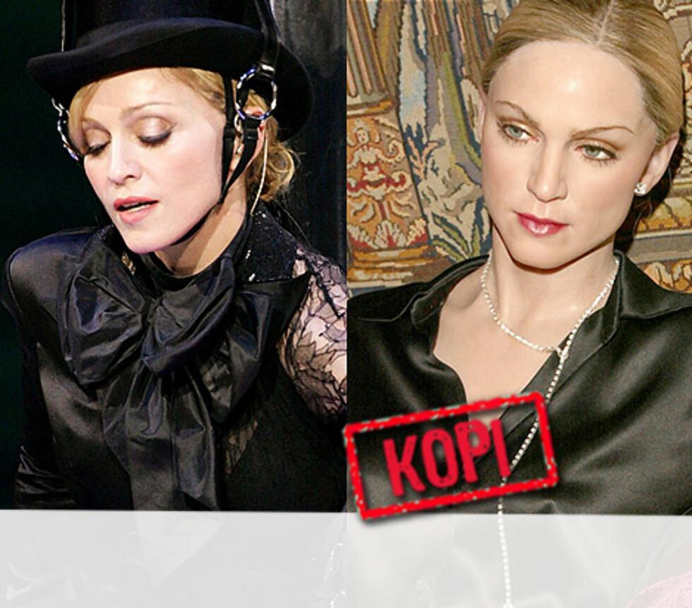 HOLDBARHETSGARANTI: Her er Madonna reprodusert i syntetisk form. Vi er litt usikre på hvem av dem som holder lengst. Foto: All Over Press