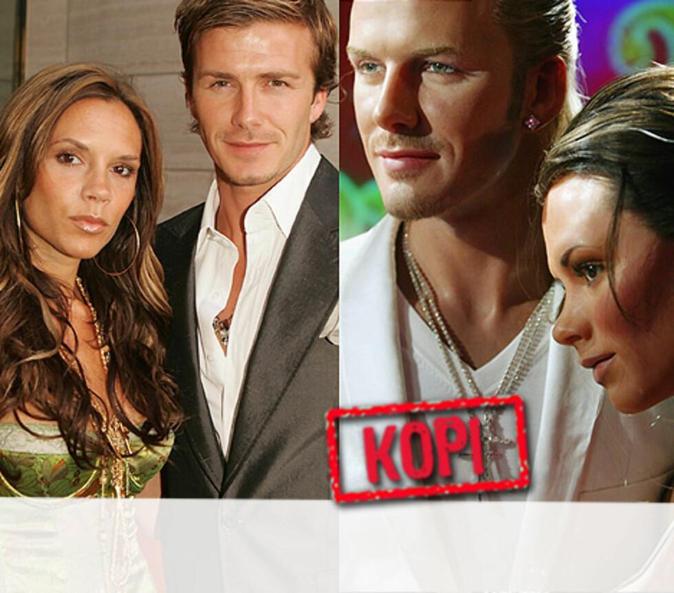 SMIIIIL: Ekteparet Victoria og David Beckham poserer like stivt enten de er på pressekonferanse eller på museum. Foto: All Over Press