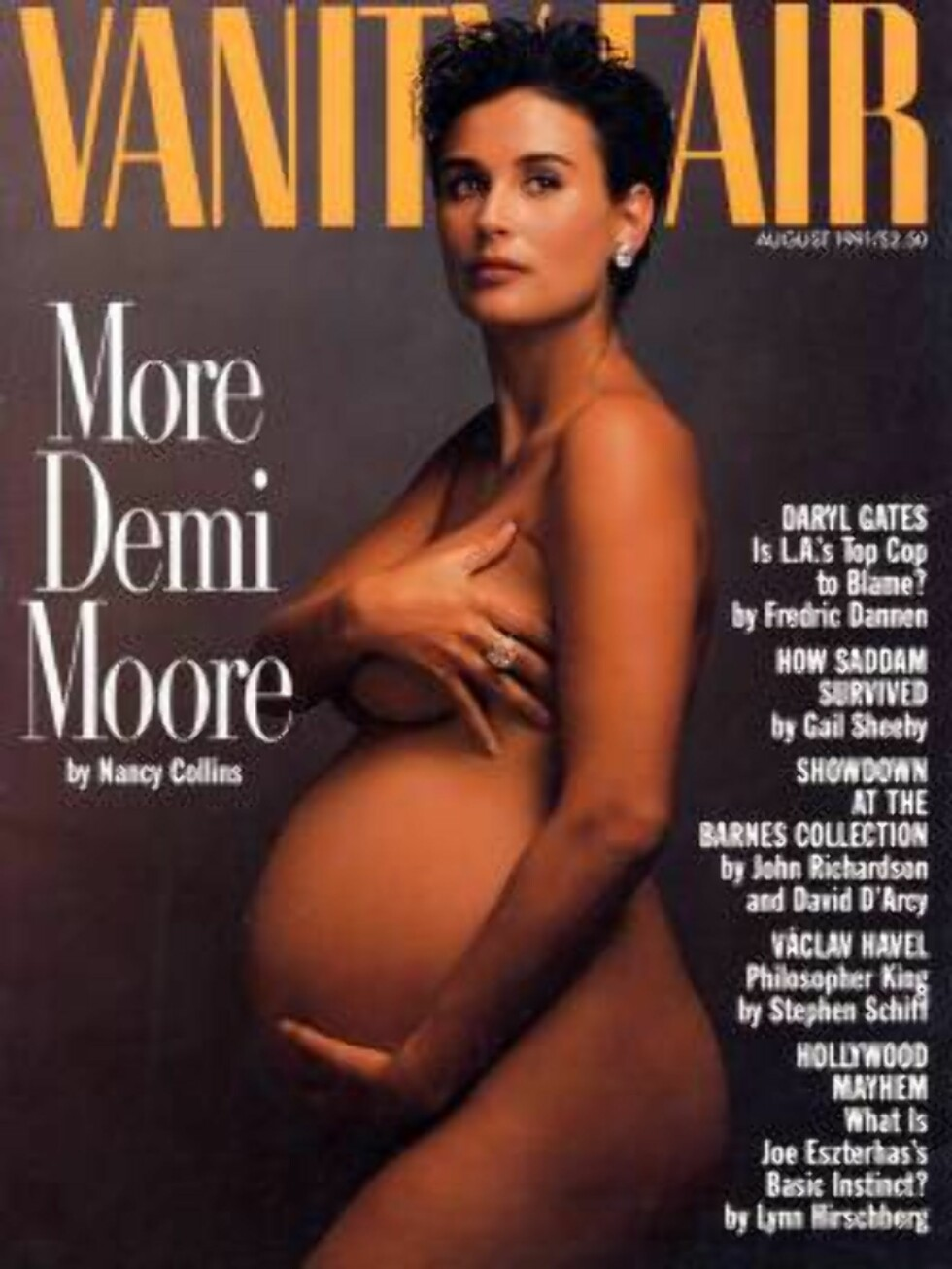 This photo supplied by the Magazine Publishers Association and American Society of Magazine Editors shows theVanity Fair magazine cover from August 1991, depicting a pregnant Demi Moore, which was voted the second best magazine cover from the last 40 year Foto: AP/Scanpix