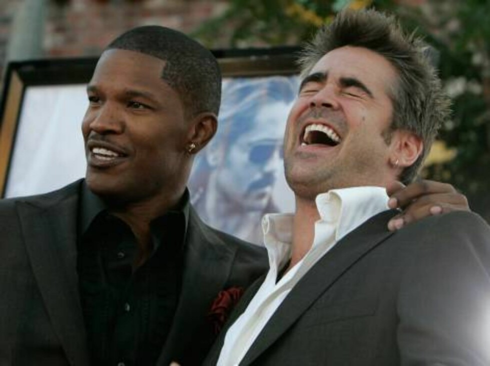 """<strong>WESTWOOD, CA - JULY 20:</strong>  Actors Jamie Foxx (L) and Colin Farrell arrive at the Universal Pictures premiere of """"Miami Vice"""" held at the Mann's Village Theatre on July 20, 2006 in Westwood, California.  (Photo by Kevin Winter/Getty Images) *** Local Caption Foto: All Over Press"""