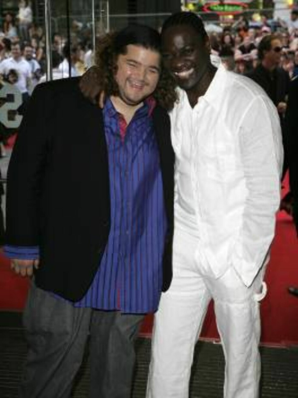 "<strong>LONDON - JULY 03:</strong>  (UK TABLOID NEWSPAPERS OUT)  Actors Jorge Garcia (L) and Adewale Akinnuoye-Agbaje arrive at the European Premiere of ""Pirates of the Caribbean: Dead Man's Chest"" at Odeon Leicester Square on July 3, 2006 in London, England.  (Photo by D Foto: All Over Press"