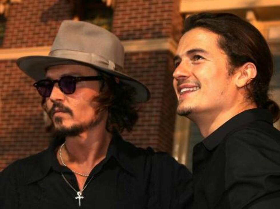 RØVERE: Skuspillerne Johnny Depp og Orlando Bloom. Foto: All Over Press