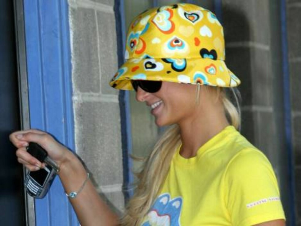 Paris Hilton wearing a yellow funky hat goes to a recording studio in West Los Angeles.  June 13, 2005 X17agency exclusive / ALL OVER PRESS Foto: All Over Press