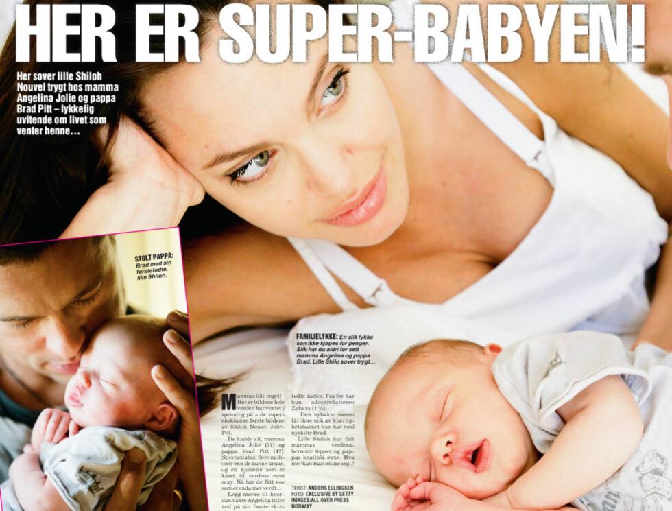 ØMME BLIKK: Angelina og Brad har endelig fått sitt etterlengtede barn.  Foto: Faksimile, Se og Hør
