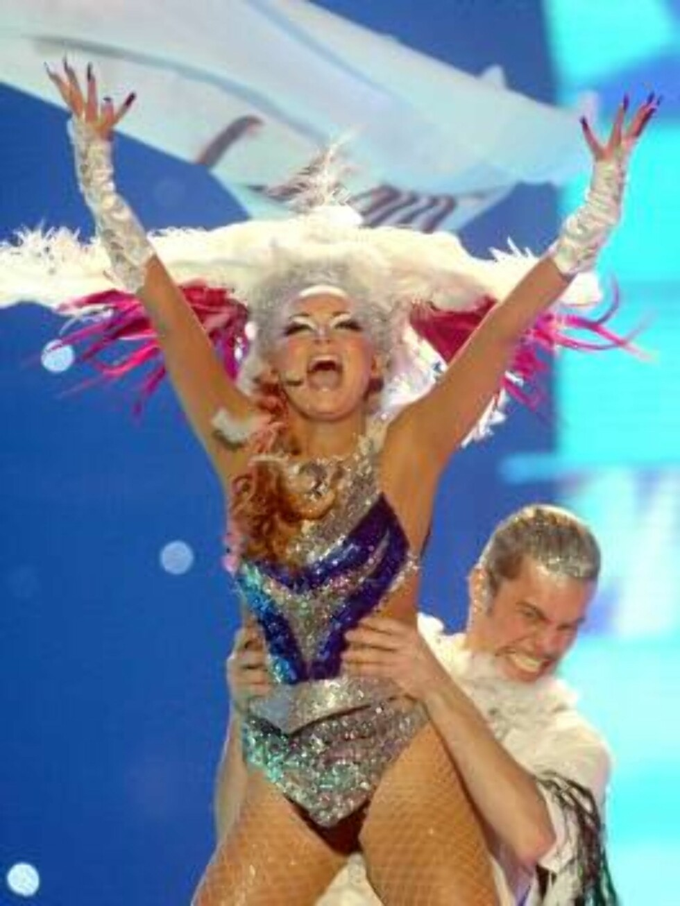 "Singer Silvia Night performs for Iceland with the song ""Congratulations"" during the semi final of the Eurovision at the Indoor Olympic stadium in Athens on Thursday, May 18, 2006. Eurovision final contest, one of Europe's most widely watched events, will Foto: AP"