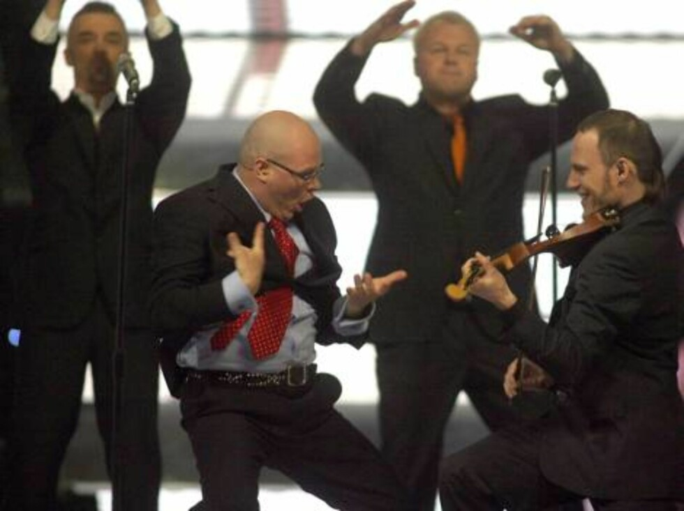 Members of the group Lt United perform for Lithuania with the song 'We are the winners' during the Eurovision final at the Indoor Olympic stadium in Athens, on Saturday, May 20, 2006. (AP Photo/Petros Giannakouris) Foto: AP