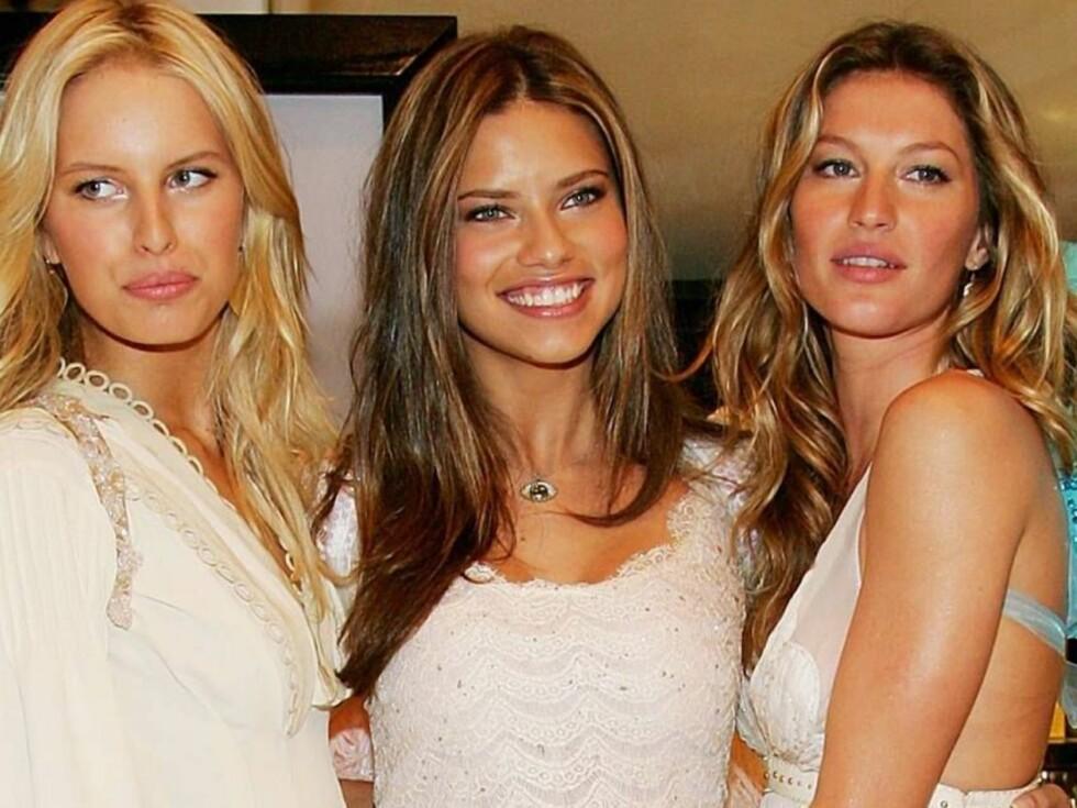 VICTORIA'S ANGELS: Karolina Kurkova, Adriana Lima og Gisele Bundchen vakte oppsikt med sine englekostymer... Foto: All Over Press