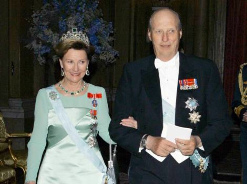 King Harald & Queen Sonja of Norway attend King Carl Gustaf of Sweden's 60th Birthday Celebrations. Gala Dinner at the Royal Palace, Stockholm. Picture; UK Press Foto: All Over Press