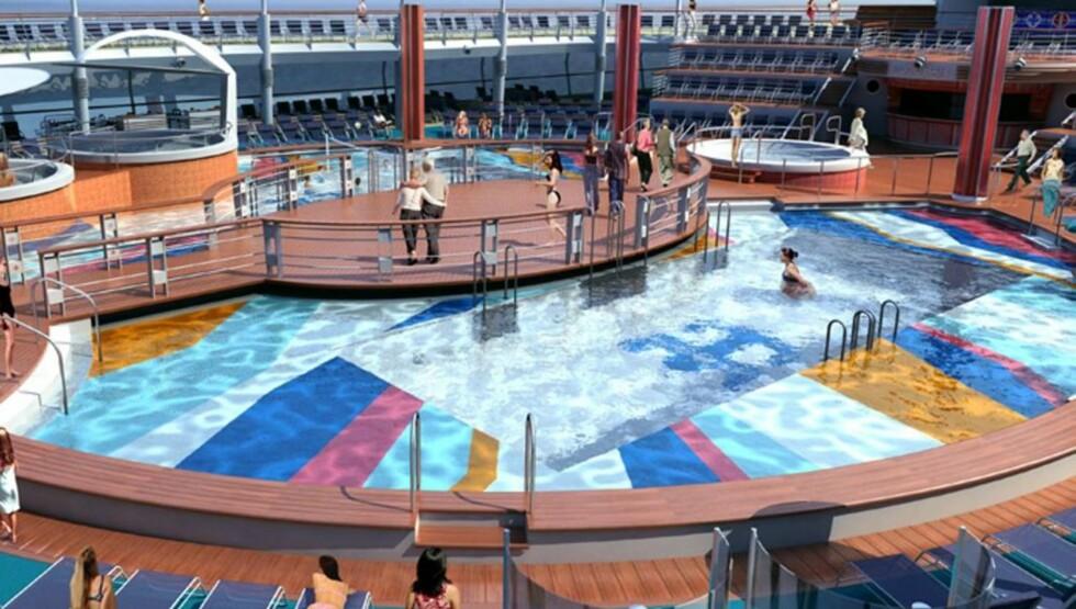 VANNLAND: Freedom Of The Seas får et enormt badeland på øverste dekk. Foto: RCCL