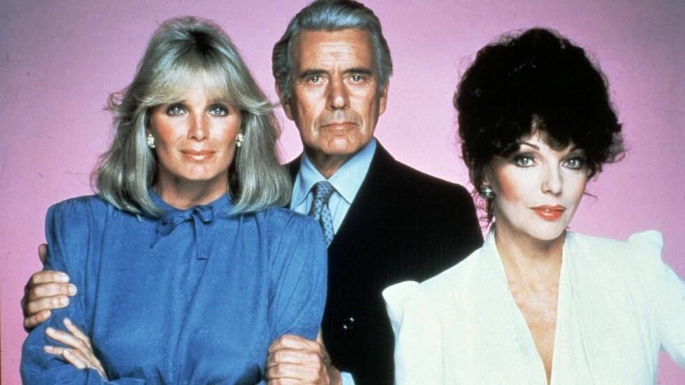 ORIGINALEN: Linda Evand, John Forsyth og Joan Collins kan bli erstattet av Meg Ryan, Bruce Willis - og Victoria Beckham! Foto: nrk