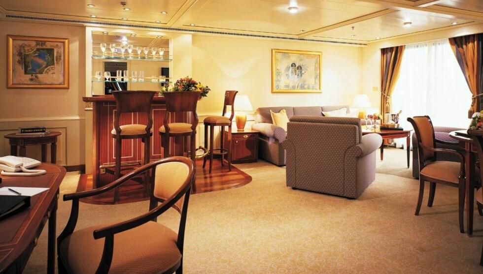 "FLOTTESTE KABINER: Vinner i kategorien ""kabiner"" er Silverseas skip Silver Whisper. Her fra en såkalt ""grande suite"". Foto: Silversea"