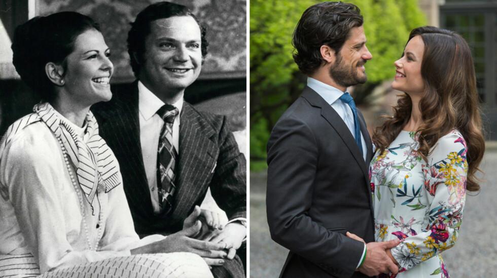 SA KLIKK FOR BEGGE: Både kong Carl Gustaf, her med sin Silvia før bryllupet i 1976 (t.v), og prins Carl Philip har beskrevet første møte med sin utkårede med en klikk-metafor. Lørdag gifter prinsen seg med Sofia Hellqvist (t.h). Foto: Zuma press/ TT Nyhetsbyrån