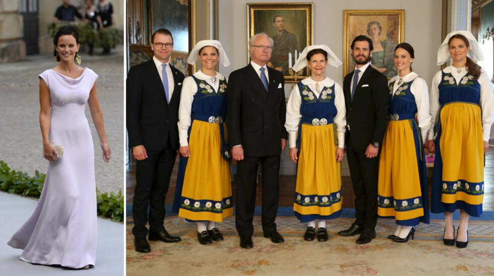 INNE I VARMEN: Sofia Hellqvist har tidligere deltatt på mange rojale arrangementer alene, som da hun ankom prinsesse Madeleines bryllup i 2013 (t.v). Forrige helg poserte hun sammen med kongefamilien på Sveriges nasjonaldag.  Foto: NTB Scanpix