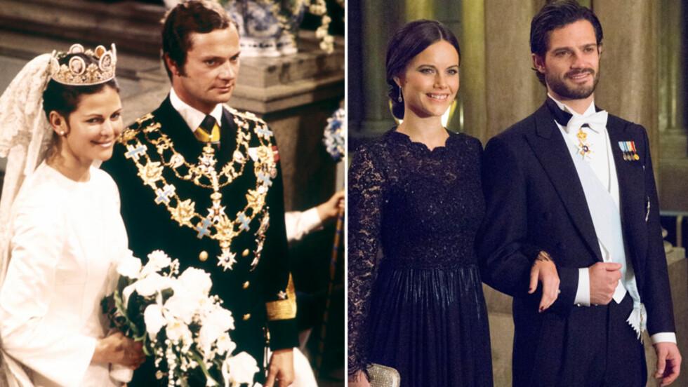 SVÆRT LIKE: For 39 år siden giftet kong Carl Gustaf og dronning Silvia (t.v). Lørdag er det sønnen, prins Carl Philip, som skal smis i hymens lenker med Sofia Hellqvist. Hvis prinsen tar skjegget før vielsen, vil han og faren være prikk like på bryllupsbildene sine! Foto: NTB Scanpix