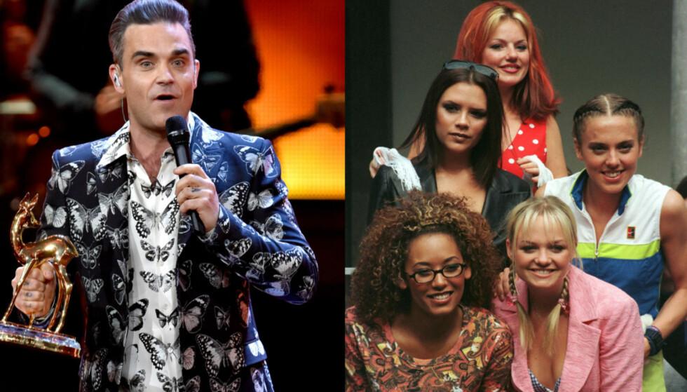 MYTEOMSPUNNET SEX-HISTORIE: Den britiske artisten Robbie Williams erkjenner at en gammel sex-spøk, som involverer jentene i Spice Girls, alltid vil henge over ham. Foto: NTB Scanpix
