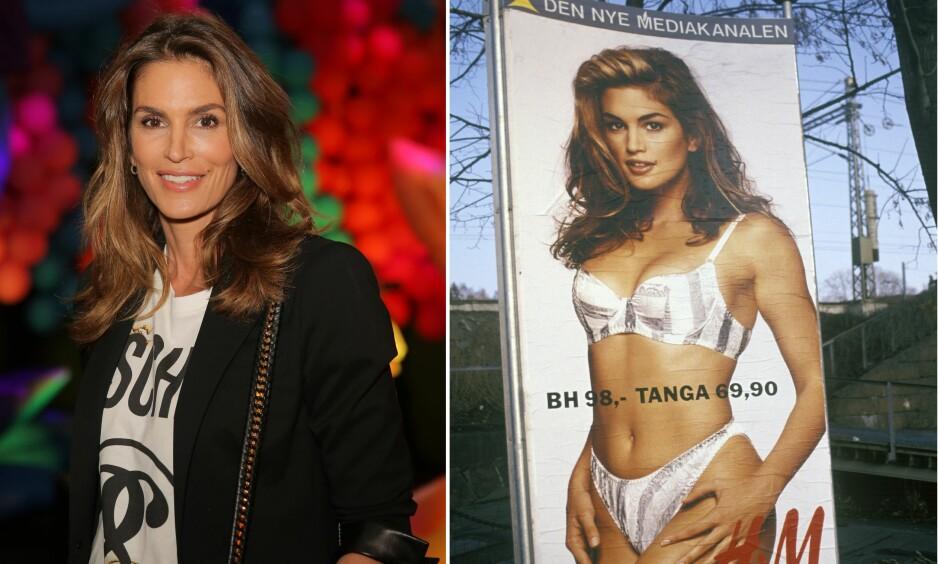 BLIKKFANG: Cindys undertøyskampanje for H&M-kjeden i 1991, førte til at mange bilister fikk problemer med å holde øynene på veien. Foto: Scanpix