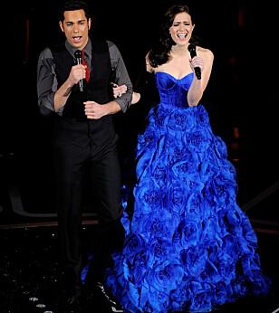 <strong>TALENTFULL:</strong> Her synger Mandy under Oscar-utdelingen i 2011. Foto: NTB Scanpix