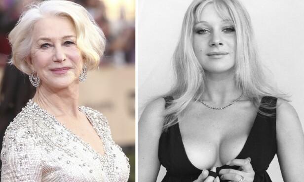 FØR OG NÅ: Helen Mirren er gudommelig vakker uansett alder. Bildet til venstre er tatt tidligere i år, mens bildet til høyre er tatt av henne som ung skuespiller. Foto: NTB Scanpix.