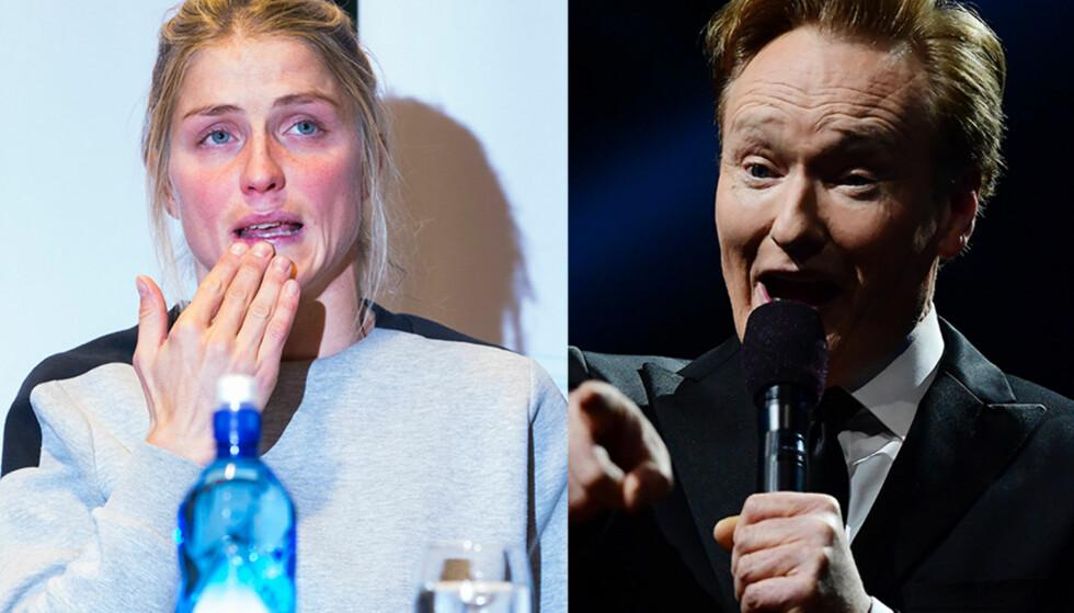TULLET MED DOPINGSAKEN: Conan O'Brien valgte å dra en vits om Therese Johaugs dopingsak. Han måtte selv påpeke at han ikke forsto vitsen, selv om store deler av publikum lo. Foto: NTB scanpix