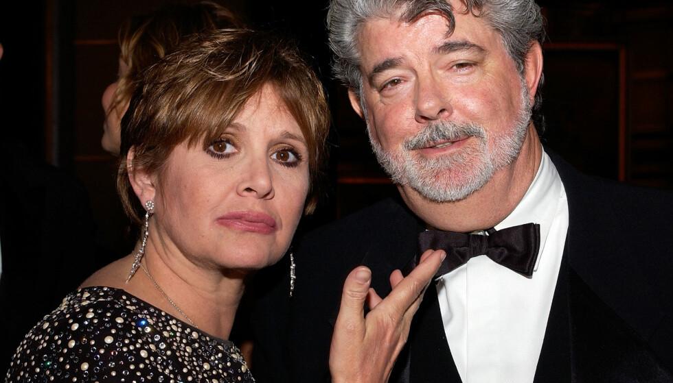 GODE VENNER: George Lucas og Carrie Fisher sammen i 2005. Foto: Scanpix
