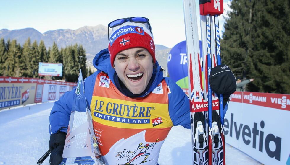 LYKKELIG PÅ JOBB OG PRIVAT: I januar tok Heidi Weng seier i Tour de ski. Hun kan også skryte av fire VM-gull. Foto: NTB Scanpix
