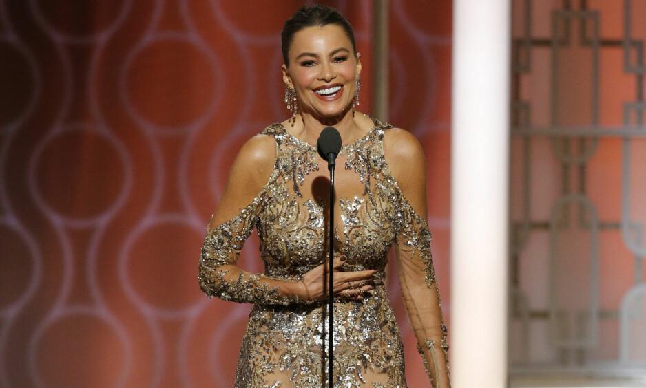 KONTROVERSIELL: Sofia Vergaras vits under nattas Golden Globe-utdeling ble ikke godt mottatt av alle. Foto:Paul Drinkwater / NBC via AP / NTB Scanpix