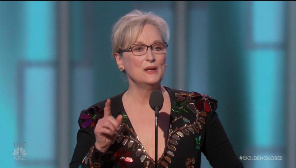 «TORDENTALE»: Meryl Streep sparte ikke på kruttet under takketalen sin på Golden Globe-utdelingen natt til mandag norsk tid. Foto: NBC / Wenn.com / NTB Scanpix