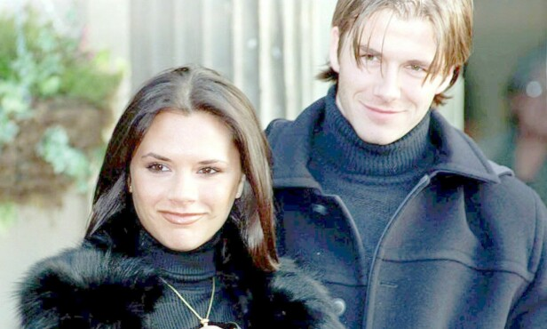 """FORLOVELSE: Søndag 25.01.98 offentliggjorde Victoria """"Posh Spice"""" Adams og fotballstjernen David Beckham at de skulle gifte seg. Foto: Scanpix"""