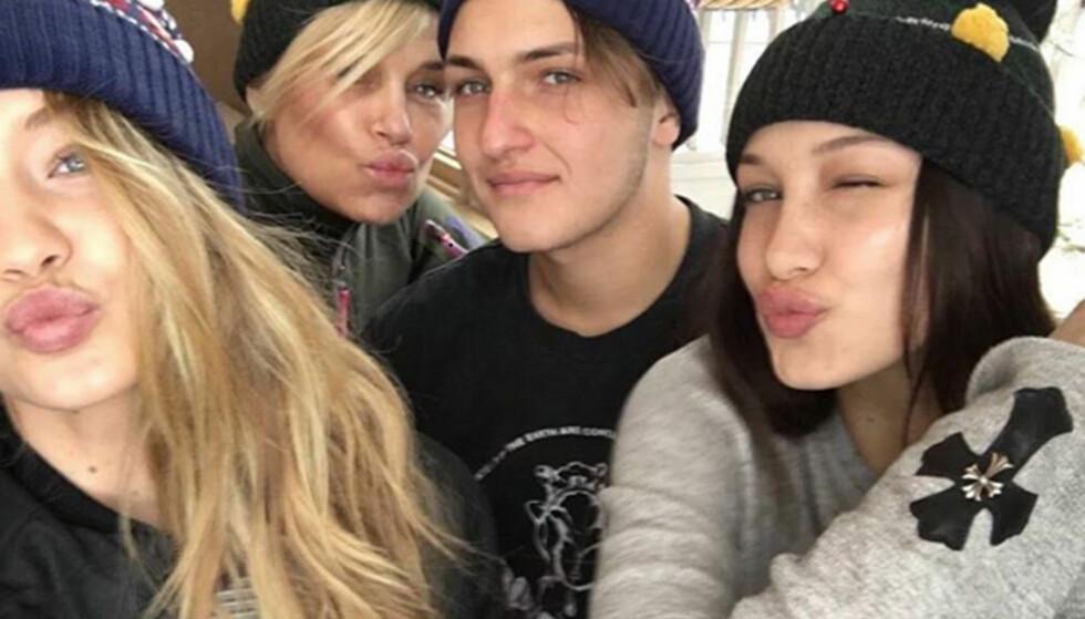 SAMMENSVEISET FAMILIE: Gigi, Yolanda, Anwar og Bella poster ofte bilder av seg selv med familien på sosiale medier. Foto: Instagram