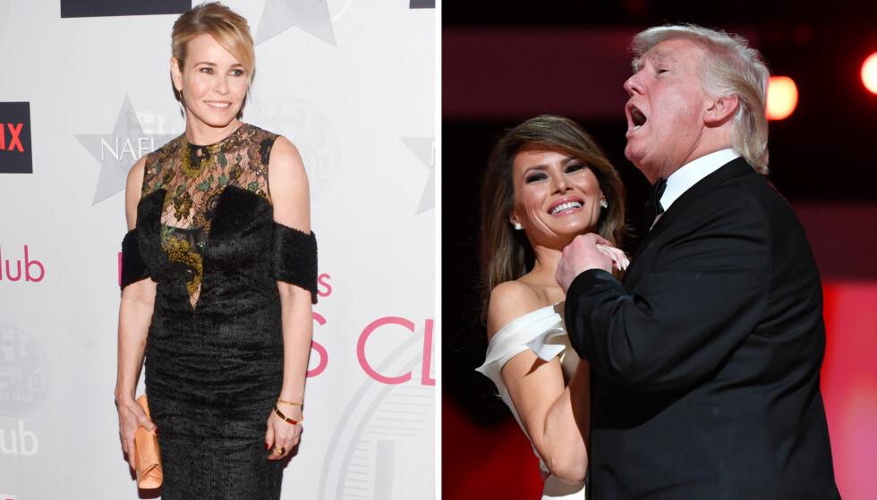 IKKE NÅDIG: Chelsea Handler legger ikke skjul på at hun er sterkt kritisk til USAs nye presidentpar, Donald og Melania Trump. Foto: NTB Scanpix/Montasje