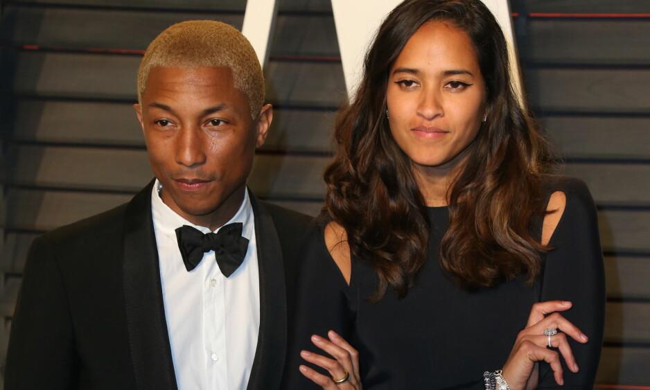 NYBAKTE FORELDRE: Pharrell Williams og kona Helen har blitt foreldrene til hele tre barn. Fra før har de sønnen Rocket. Foto: NTB scanpix
