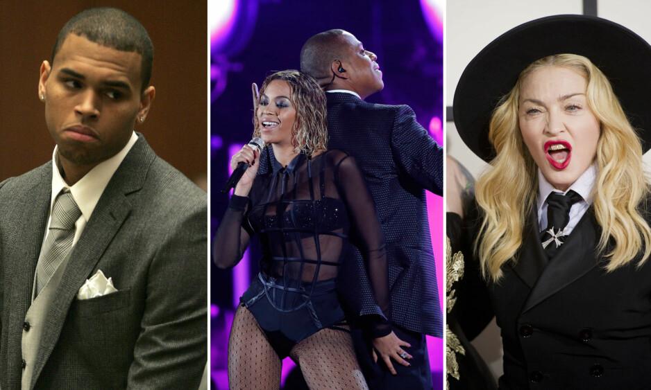 <strong>OVERRASKET:</strong> Chris Brown, Beyonce og Jay Z og Madonna har alle til felles at de har klart å skape overskrifter i forbindelse med musikkprisutdelingen Grammy Awards. Foto: NTB scanpix